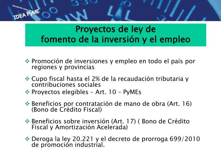 Promoción de inversiones y empleo en todo el país por regiones y provincias