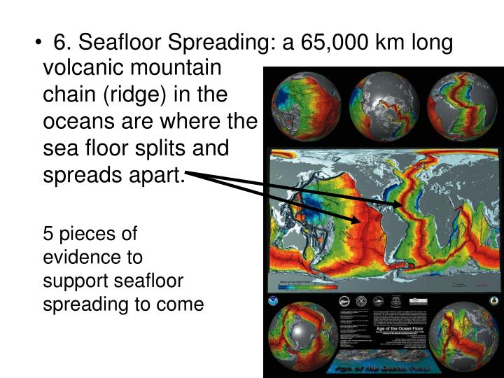 volcanic mountain chain (ridge) in the oceans are where the sea floor splits and spreads apart.