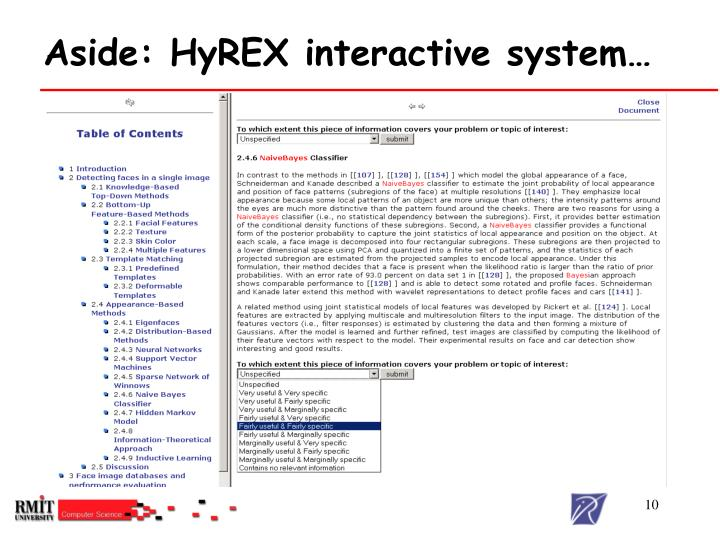 Aside: HyREX interactive system…