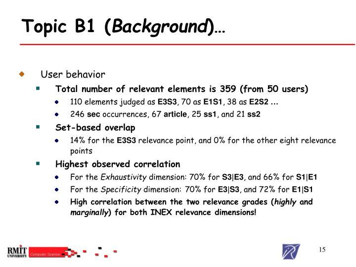 Topic B1 (