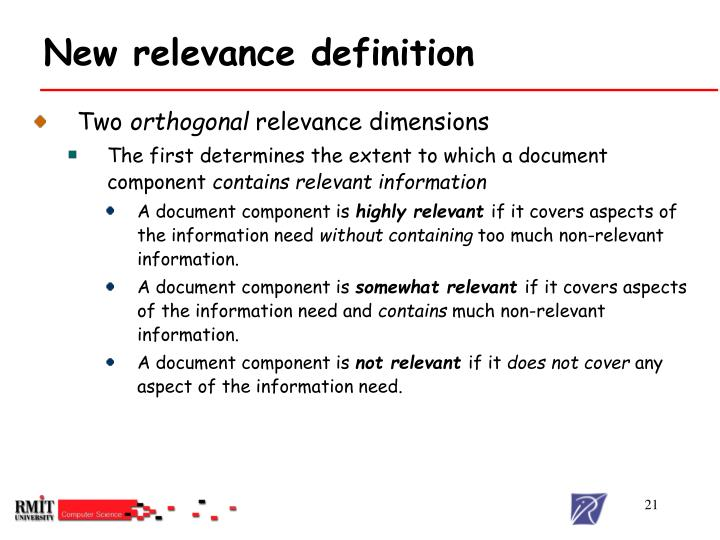 New relevance definition