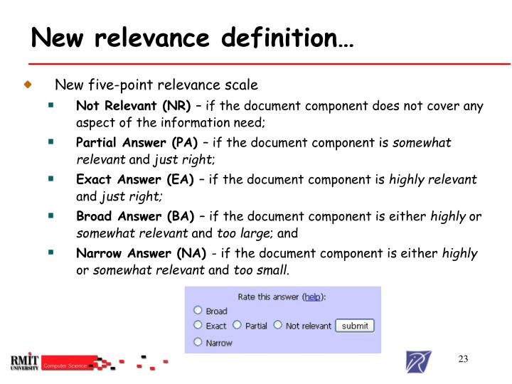 New relevance definition…