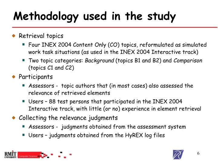 Methodology used in the study