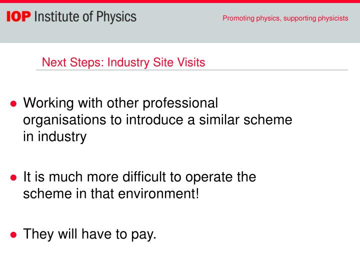 Next Steps: Industry Site Visits