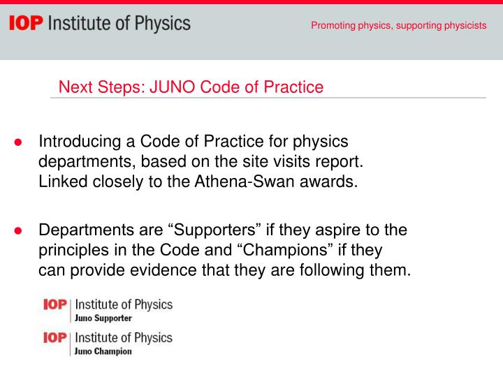 Next Steps: JUNO Code of Practice