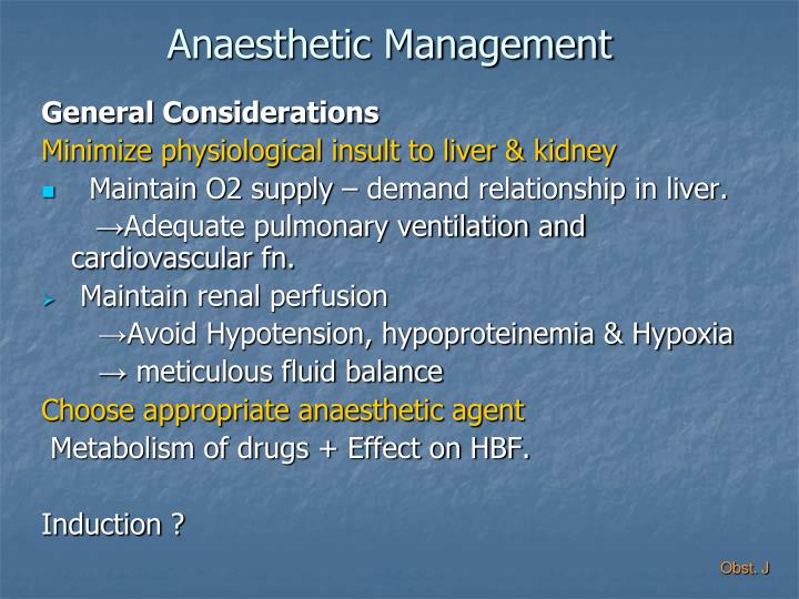Anaesthetic Management