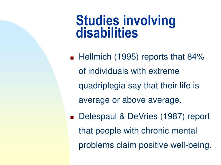 Studies involving disabilities