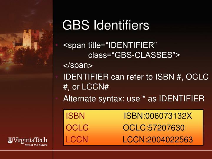 GBS Identifiers