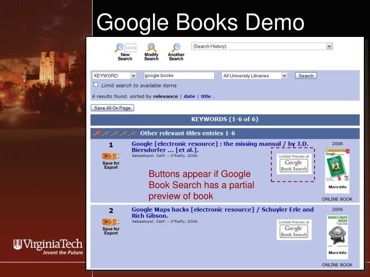 Google Books Demo
