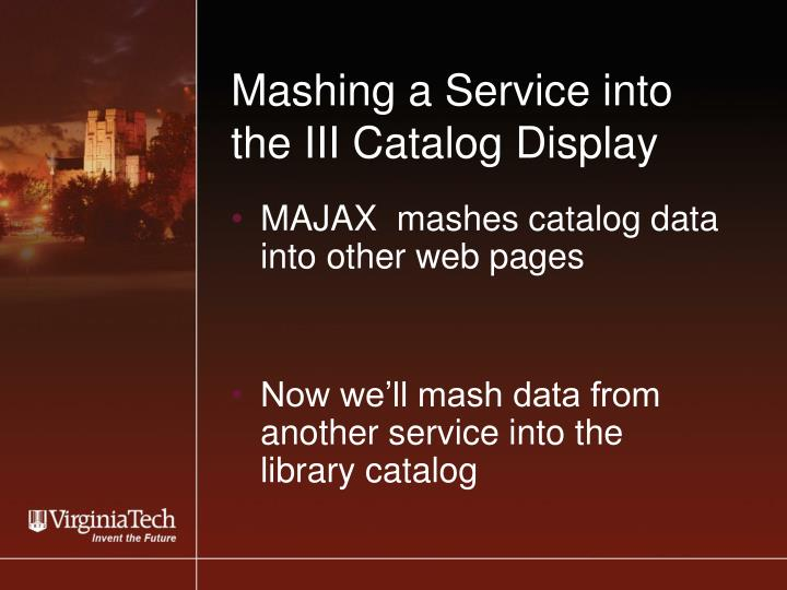 Mashing a service into the iii catalog display