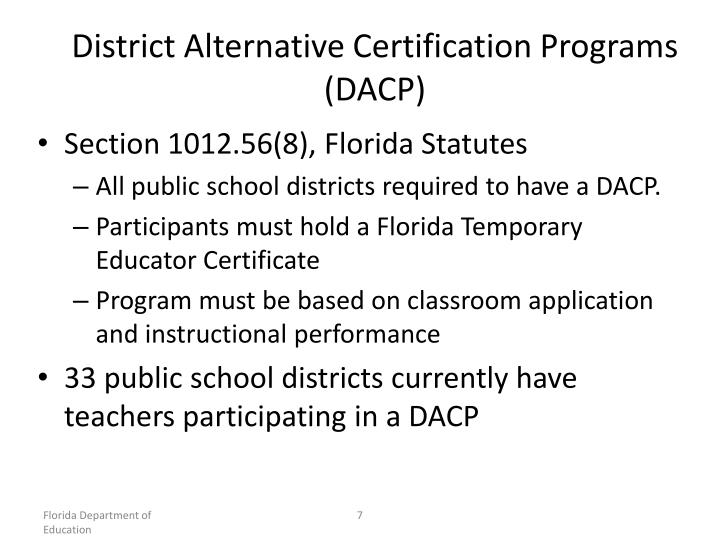 District Alternative Certification Programs (DACP)