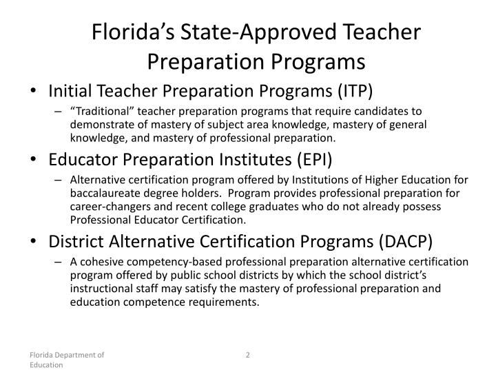 Florida's State-Approved Teacher Preparation Programs
