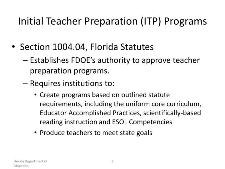 Initial Teacher Preparation (ITP) Programs