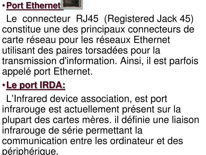 Port Ethernet: