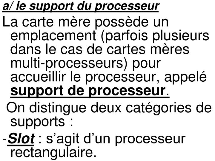 a/ le support du processeur