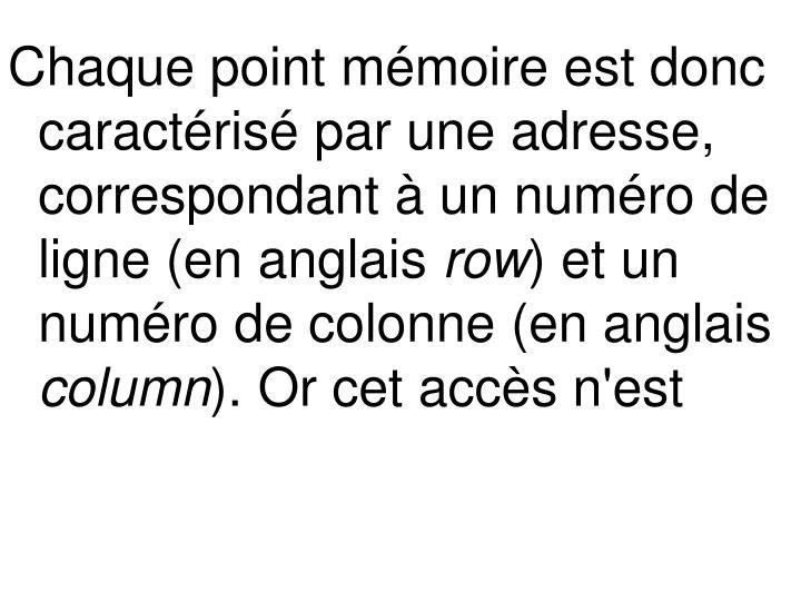 Chaque point mémoire est donc caractérisé par une adresse, correspondant à un numéro de ligne (en anglais