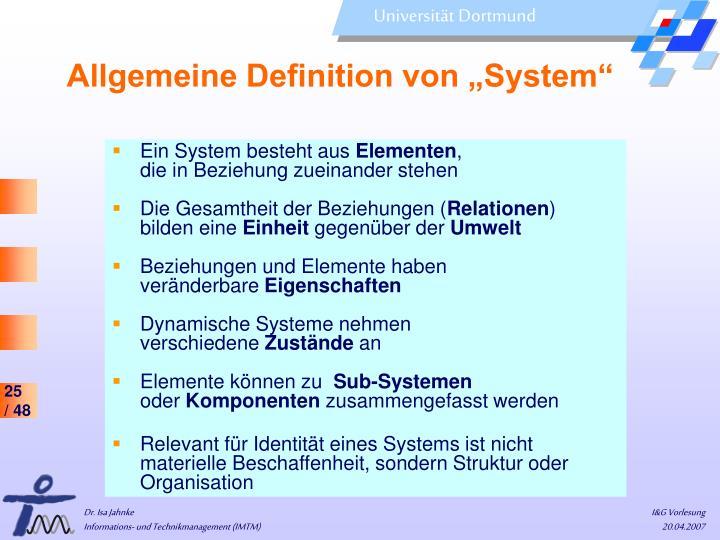 """Allgemeine Definition von """"System"""""""