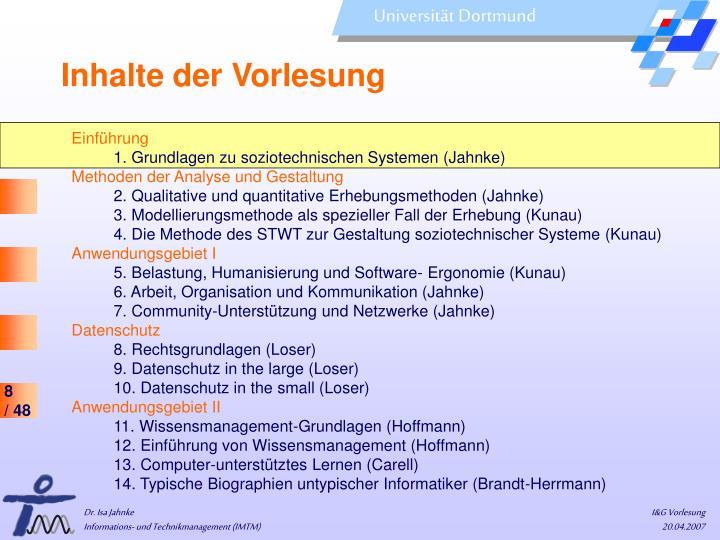 Inhalte der Vorlesung