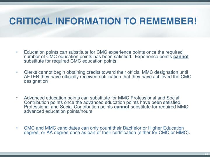 CRITICAL INFORMATION TO REMEMBER!