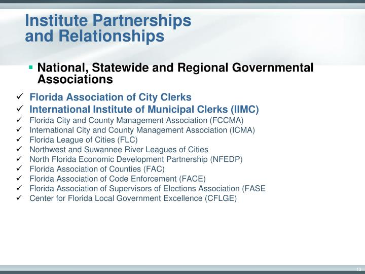 Institute Partnerships