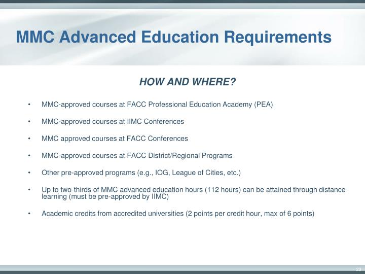 MMC Advanced Education Requirements