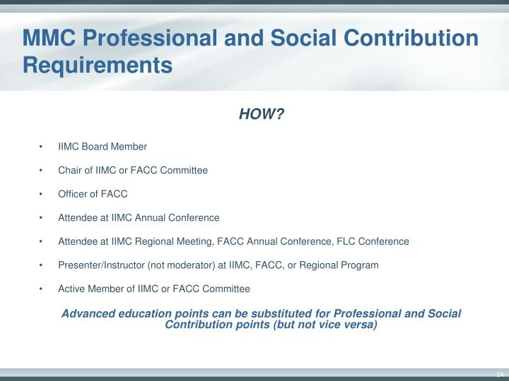 MMC Professional and Social Contribution Requirements