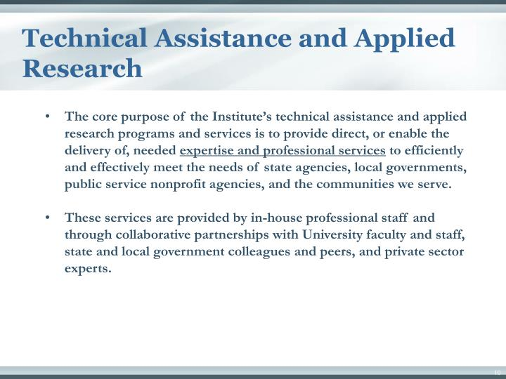 Technical Assistance and Applied Research