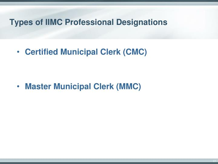 Types of IIMC Professional Designations
