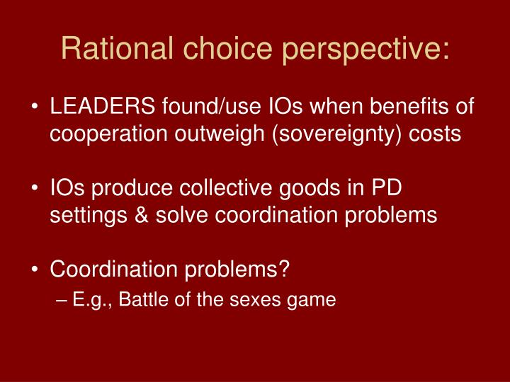 Rational choice perspective:
