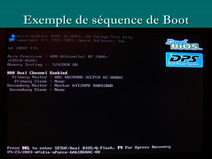 Exemple de séquence de Boot