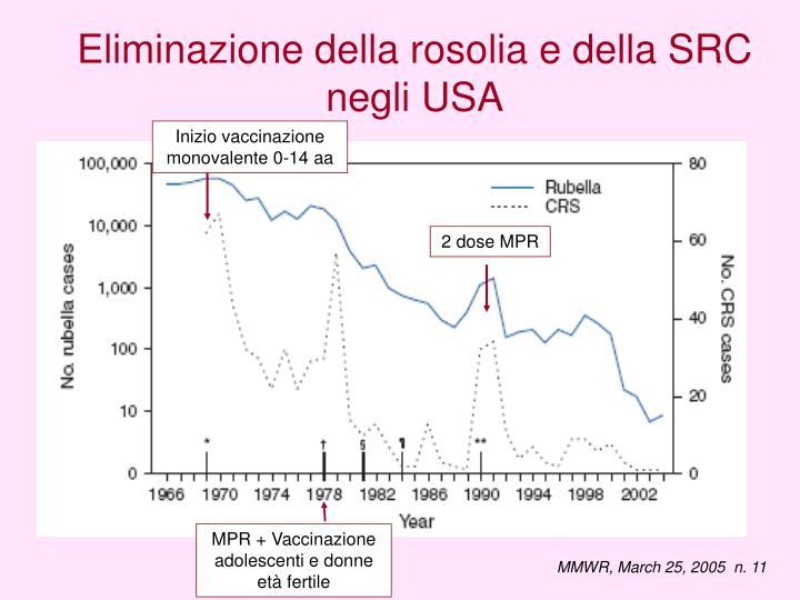 Eliminazione della rosolia e della SRC negli USA
