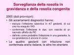 sorveglianza della rosolia in gravidanza e della rosolia congenita1