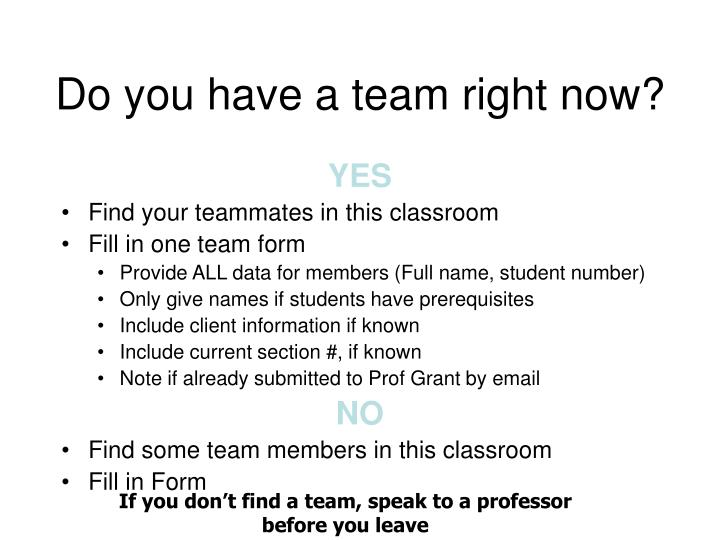 Do you have a team right now?