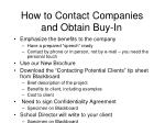 how to contact companies and obtain buy in