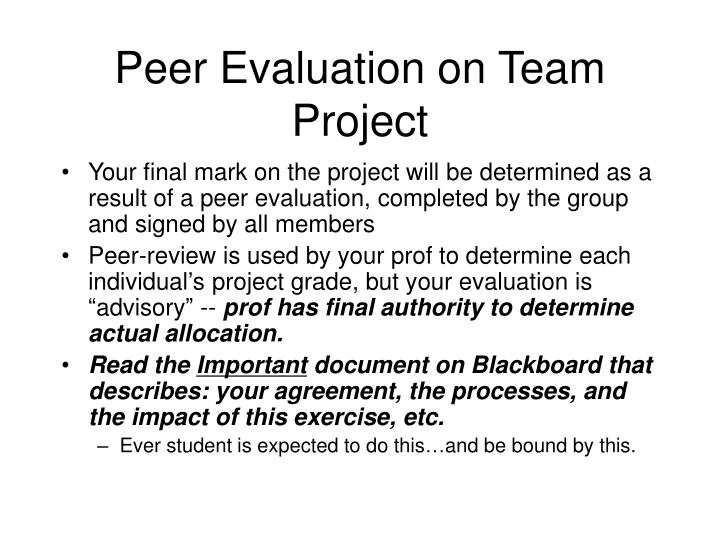 Peer Evaluation on Team Project