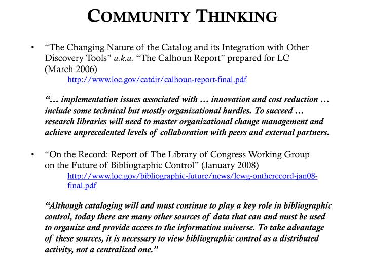 Community Thinking