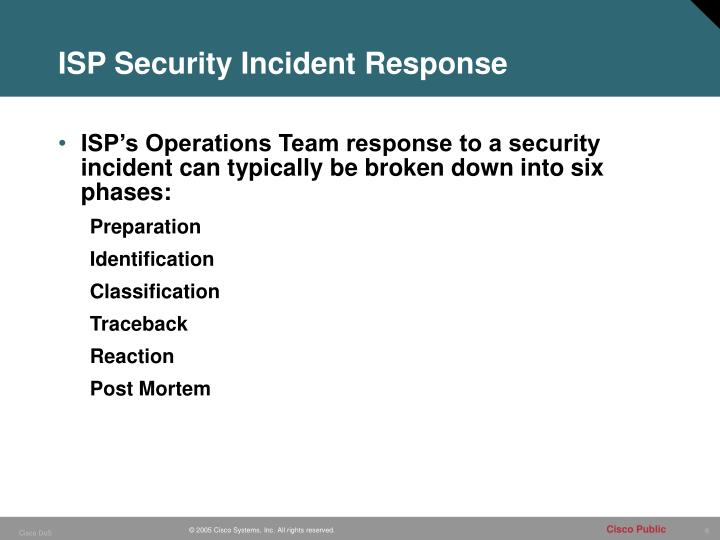 ISP Security Incident Response