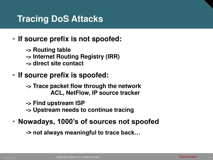 Tracing DoS Attacks