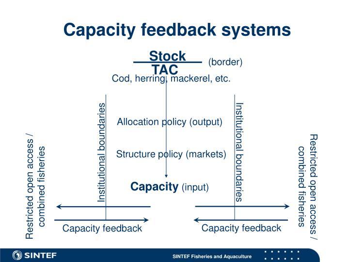 Capacity feedback systems