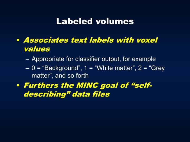 Labeled volumes