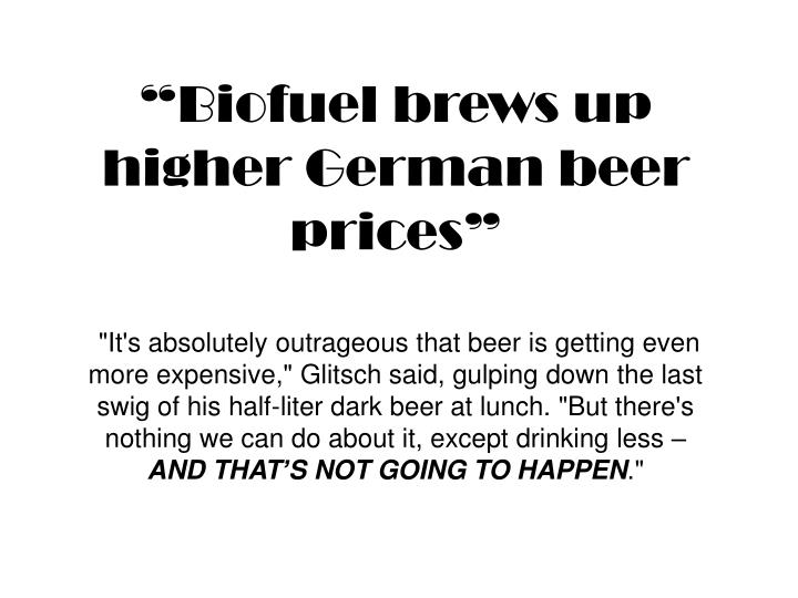 """Biofuel brews up higher German beer prices"""