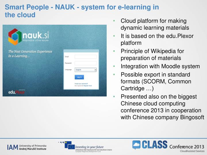 Smart People - NAUK - system for e-learning in the cloud