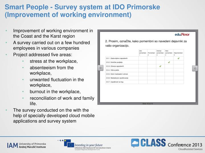 Smart People - Survey system at IDO Primorske (Improvement of working environment)