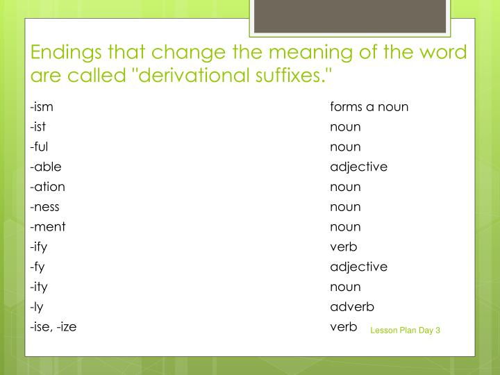 "Endings that change the meaning of the word are called ""derivational suffixes."""