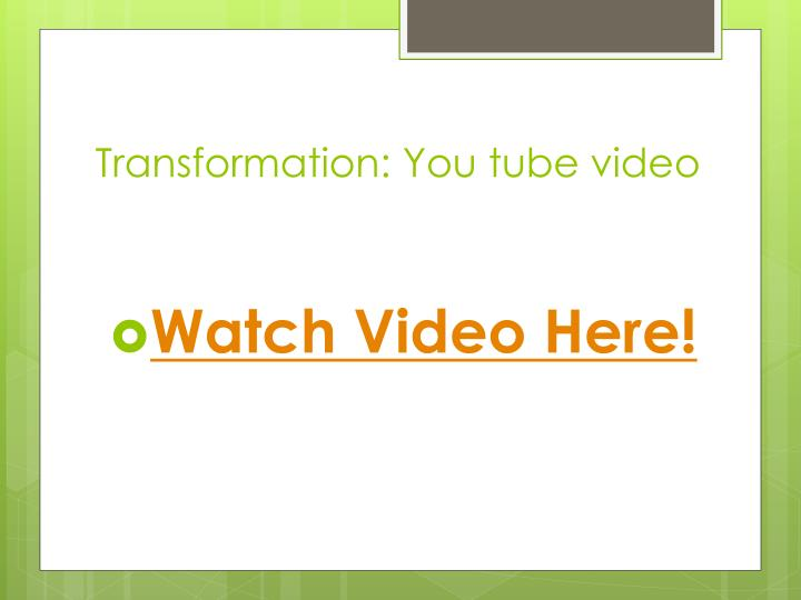 Transformation: You tube video
