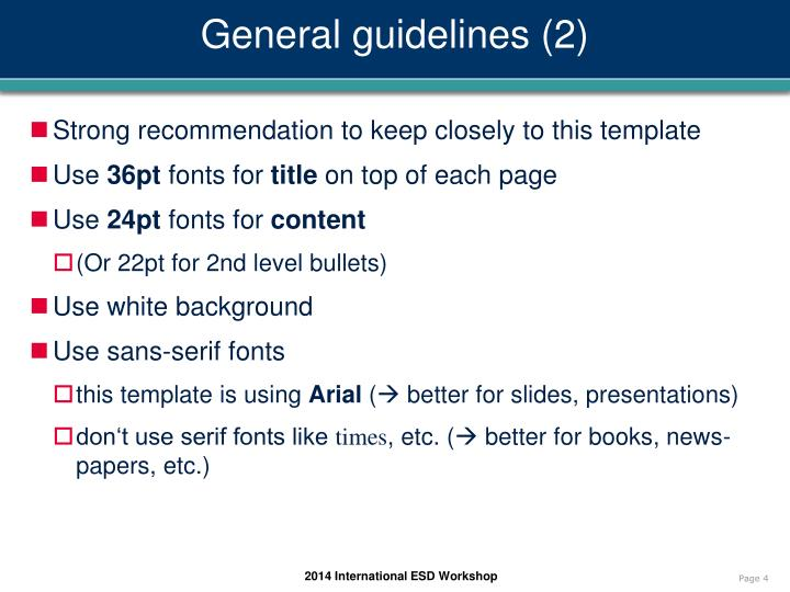 General guidelines (2)