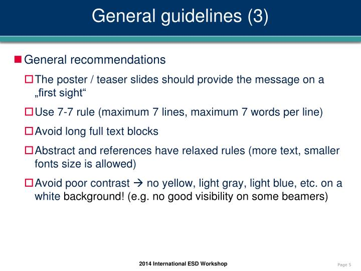 General guidelines (3)