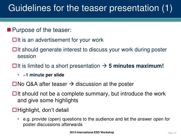 Guidelines for the teaser presentation (1)