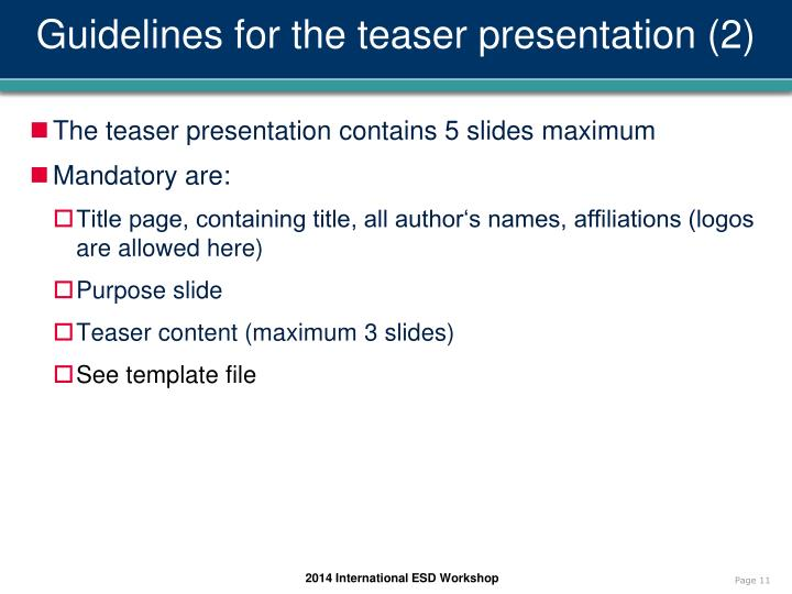 Guidelines for the teaser presentation (2)