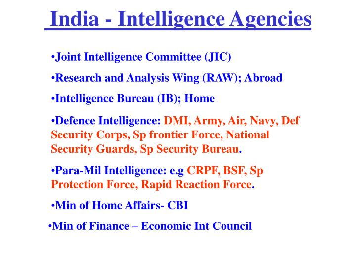India - Intelligence Agencies